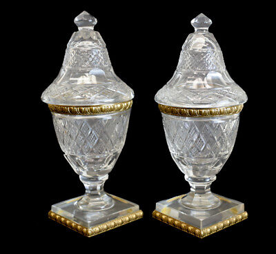 Fine Pair of French Cut Crystal Art Glass & Gilt Bronze Vanity Jars, circa 1900