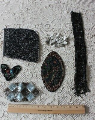 French Antique Victorian-Art Deco Applique Beading/Sequins~6 pieces~Clothing