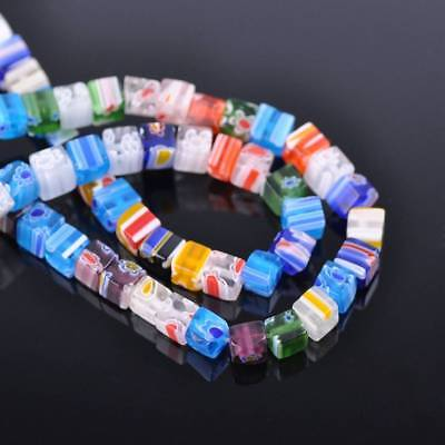 50pcs 6mm Cube Sauqre Millefiori Glass Loose Spacer Beads Craft Findings Lots