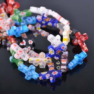 10pcs 13x18mm Mixed Cross Millefiori Glass Loose Spacer Beads Craft Findings