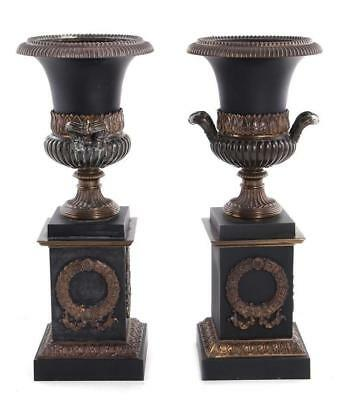 Pair Charles X style urns on pedestal (2pcs) Lot 1315