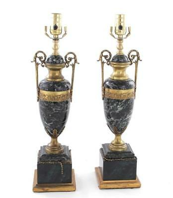 Pair French ormolu-mounted marble urns, converted to lamps (2pcs) Lot 1358