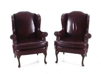 Pair Queen Anne style leather wingback armchairs, Smith & Gains (2pcs) Lot 1101