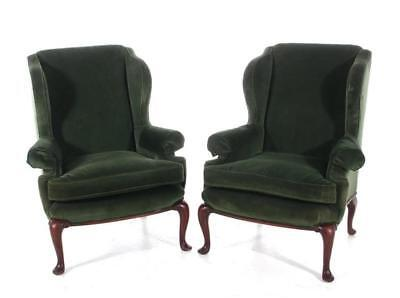 Pair Queen Anne style upholstered wingback armchairs (2pcs) Lot 1103