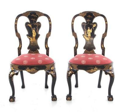 Pair Queen Anne style Chinoiserie-decorated side chairs (2pcs) Lot 1104