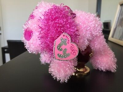 RARE 2004 Ty Sparkles Pink Pooch Puppy Dog Beanie Baby - MINT with Original TAGS