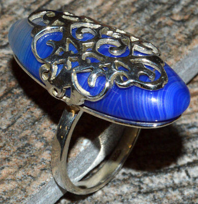 JJ8282 Hand Crafted Artisan - Blue Botswana Agate 925 Silver Ring Jewelry s.7