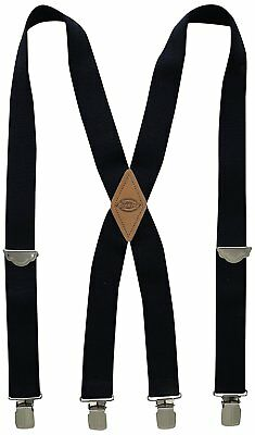 Dickies Mens Solid Straight Clip Suspender w/ Leather Patch, One Size - Navy