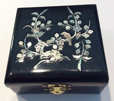 Black Lacquer Ware Jewelry Box With An Inlaid Mother Of Pearl Birds On The Lid