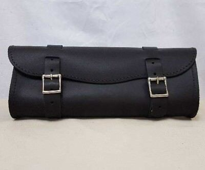 """Wide Glide 14"""" Classic Black Leather Motorcycle Tool Bag"""