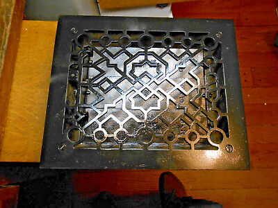 Rectangular Cast Iron Floor Register Heat Grate Made For 10 X 8 Duct  W/ Louvers