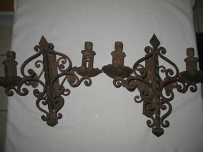 Pair Vintage Spanish Revival Wall Sconces Hand Hammered Wrought Iron Gothic