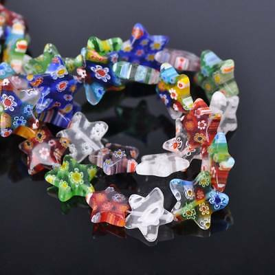 20pcs 14mm Mixed Five-pointed Star Millefiori Glass Loose Spacer Beads Findings