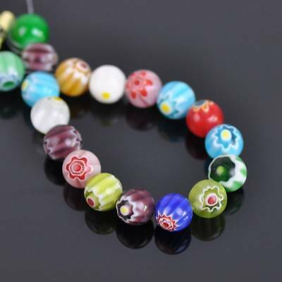 50pcs 6mm 8mm Mixed Flowers Millefiori Glass Loose Spacer Beads Lots