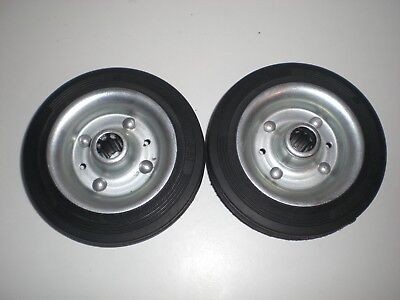 "6"" 160mm Rubber / Steel Sack Barrow Trolley / Cart Wheels - Pair / NEW Unused"