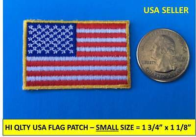 "SMALL USA AMERICAN FLAG EMBROIDERED PATCH IRON-ON / SEW-ON GOLD BORDER 1¾"" x 1⅛"""