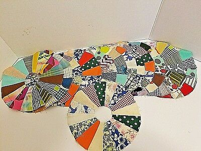 Vintage Lot of 12 Quilt Top Pieces Dresden Plate Circle Pin Wheel Hand Sewn
