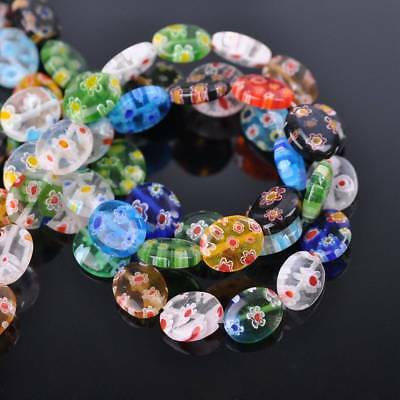 50pcs 8x10mm Mixed Oval Millefiori Glass Loose Spacer Beads Findings Lots