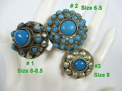 VTG SILVER METAL / CAB TURQUOISE COLOR  ETHNIC RINGS  3 Styles /3 Sizes-PICK ONE