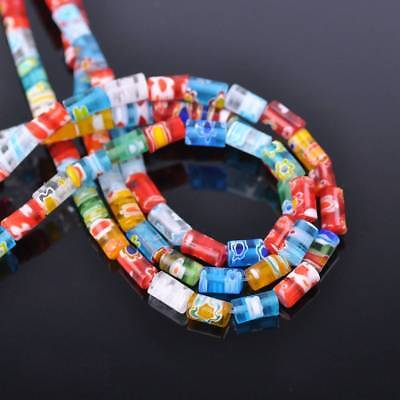 50pcs 5x7mm Cylinder Tube Sauqre Millefiori Glass Loose Spacer Beads Findings