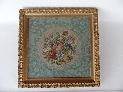 Antique 1920's Hand Made Floral Needlepoint  Tapestry In Gold Frame