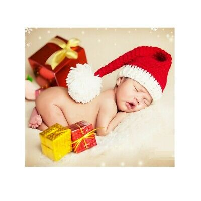 Newborn Baby Christmas Santa Claus Knit Hat Photography Props Costume +Key Ring