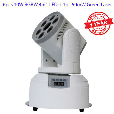 6x10w RGBW 4in1 LED + 1pc 50mW Green Laser Mini Moving Head Stage Party Light