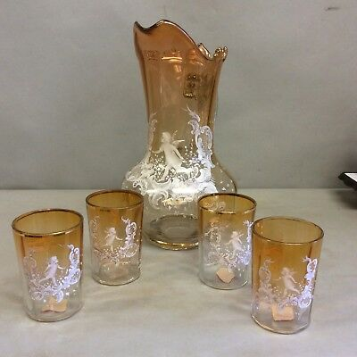 Mary Gregory Amber Glass/White Enamel Pitcher and 4 Tumblers
