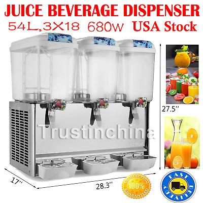 54L Juice Beverage Dispenser 3 X 4.75 Gallon Cold Drink Commercial Refrigerated