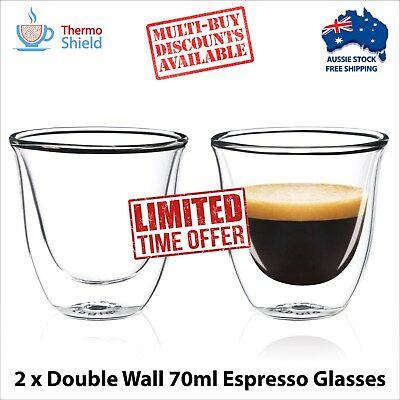 2 x Double Walled Espresso Cups Clear Glass Coffee Tea Mugs Heat-proof