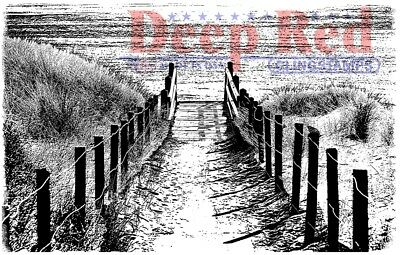 Deep Red Stamps Beach Walk Rubber Cling Stamp
