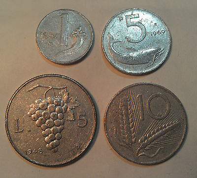 ITALY early pre Euro lot of 4 aluminium coins , all different, circulated