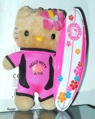 "Vintage Yet New 2003 4 1/2"" Hello Kitty In Hawaii Keychain With Surfboard"