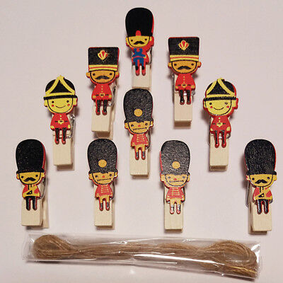 10Pcs/pack England Soldier Wooden Clips DIY Paper Photo Craft Hemp Rope Supplies