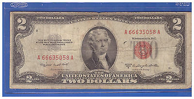 (1)-1953B  Series United States Note Red Seal $2 Two Dollar Bill  LT R354