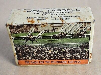 1936 Melbourne Cup & Caulfield Cup Finishes Hec Tassel St Kilda Matchbox Cover
