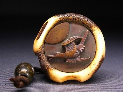 "Fine NETSUKE & OJIME 18-19th C Japanese Edo Antique for INRO ""Bird"" e753"