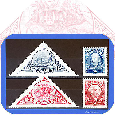 1997  PACIFIC 97  SET  America's 1st Triangular Stamps  3130-3131  3139a & 3140a