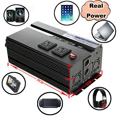 2000W/4000W Car Real Power Inverter DC 12V To AC 110V High Converting Efficiency