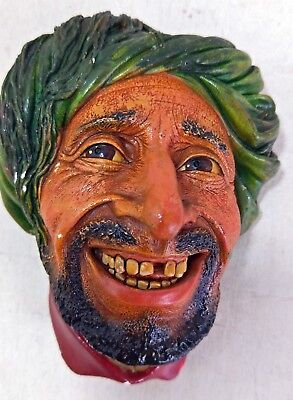 Vintage Bossons Plaster Wall Sculpture Head Figurine, Kurd 1963 (6827)