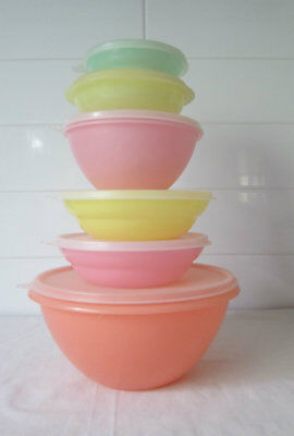 Vintage Tupperware Stack X 6 Pastel Containers