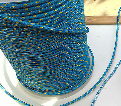 10m X 6mm BLUE DOUBLE BRAID WITH DYNEEMA® CORE, YACHT & MARINE ROPE tens:1800kg