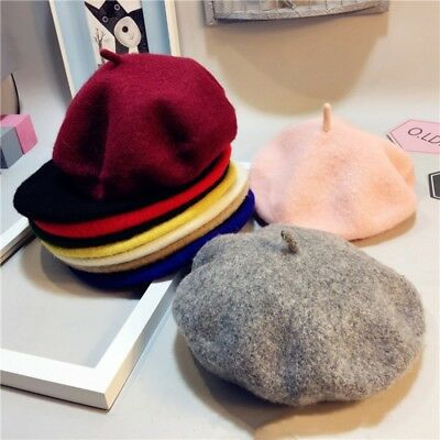 Baby Kids Girls Wool Beret Hat Toddler French Artist Woolen Soft Winter Warm Cap