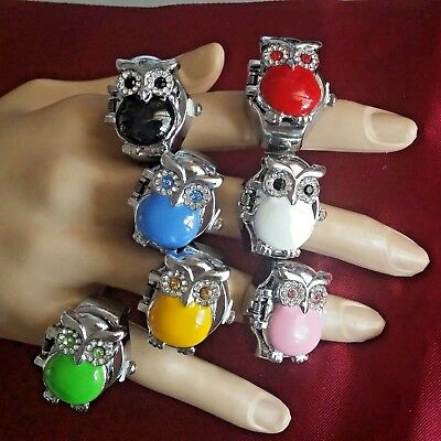 Watch Ring OWL Fashion CrystalsWomen Men Flip Top Case Red Blue Black Green Pink