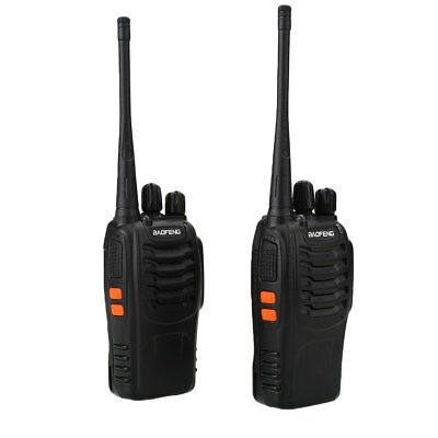 2pcs Two Way Walkie Talkie Radio Interphone Kit Long Range UK Plug Adapter Black