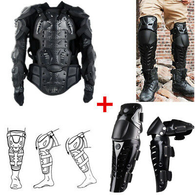 Motorcycle Armor Jacket Full Body Spine Chest Protection Riding Gear+ Knee Guard