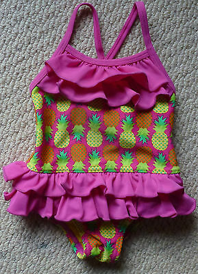 NWT 2 Chillies Baby Girls Frilly Pineapple One Piece Swimsuit Bathers Size 00 0