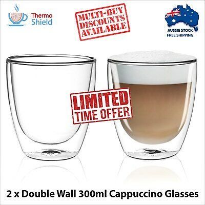 DUAL DOUBLE WALL CUPS Coffee Cappuccino Glasses Thermo Shield 300ml SET OF 2