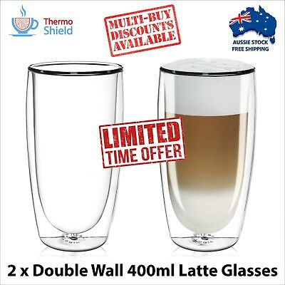 Large Latte Glasses Glass Coffee Cups Mugs - 400ml - x 2