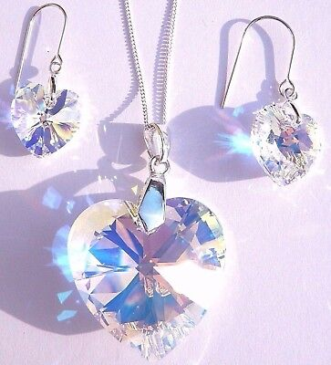 Sterling Silver CRYSTAL AB HEART NECKLACE and EARRING SET wt SWAROVSKI ELEMENTS